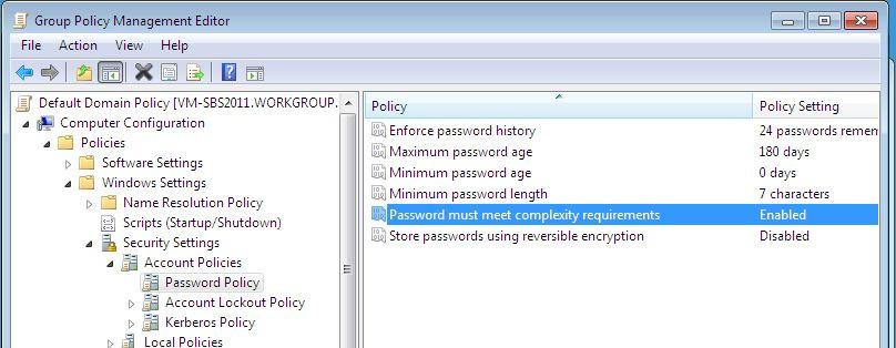 password must meet complexity requirements windows 2012